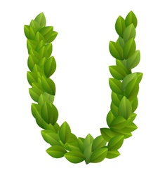 Letter U of green leaves alphabet vector image