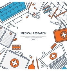 Line artmedical flat background health care vector