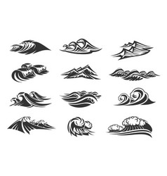 Line icons set of ocean waves vector