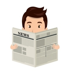 Man reading newspaper cartoon design vector image