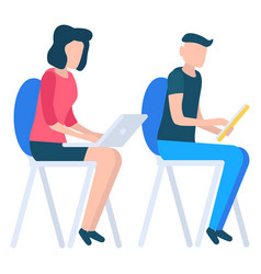 man with tablet and woman with laptop working vector image