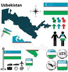 map uzbekistan vector image