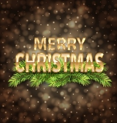 Merry Christmas Golden Text on Dark Background vector
