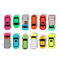 Multicolor Cars Isolated on White City Parking vector