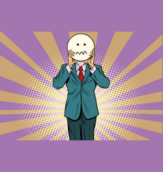 nervous skepticism man smiley emoji face vector image