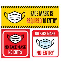 No facemask no entry sign information warning vector