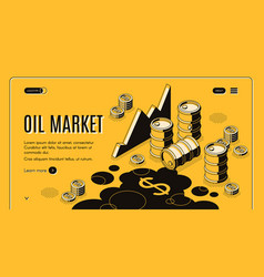 oil trade market isometric webpage template vector image