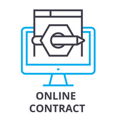 online contract thin line icon sign symbol vector image