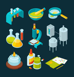 Pharmaceutical and chemical industry isometric vector