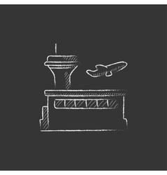 Plane taking off Drawn in chalk icon vector