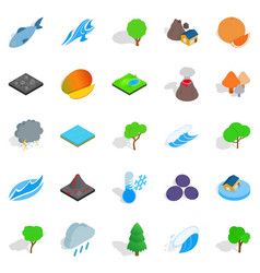 Planet icons set isometric style vector