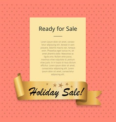 ready to holiday sale promo poster golden ribbon vector image