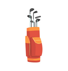 Red and orange golf bag full of clubs golfer vector