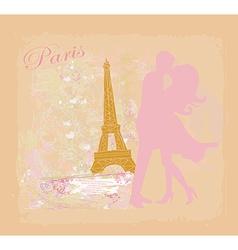 Romantic couple in Paris kissing near the Eiffel vector image