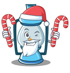 Santa with candy lantern character cartoon style vector