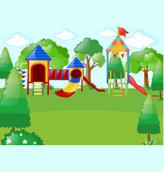 Scene with playground in park vector