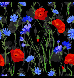 seamless background with wildflowers vector image