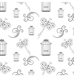 Seamless black and white pattern from tree vector image