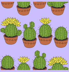 seamless pattern with cactus and succulents vector image