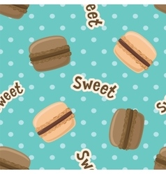 Seamless pattern with macaroon cookies on blue vector image