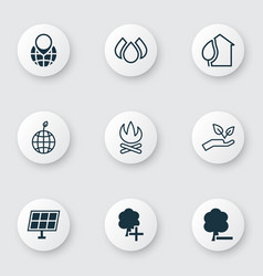 Set of 9 eco icons includes save world world vector