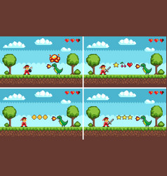 set of screens of level colorful pixel game vector image