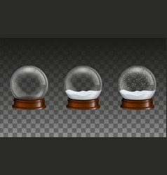 set transparent glass snow globes vector image