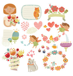 set with cute characters vector image