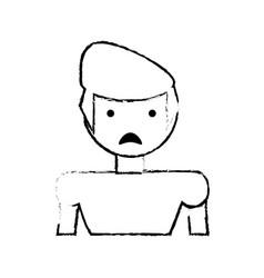 skecth boy son sad face vector image
