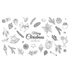 Sketch decoration xmas set christmas hand drawn vector