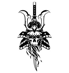 skull in samurai helmet vector image