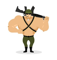 Soldier with rifle special forces with gun Warrior vector