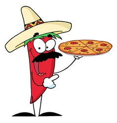 Sombrero chile pepper holds up pizza vector