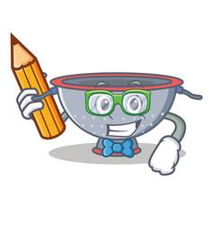 Student colander utensil character cartoon vector