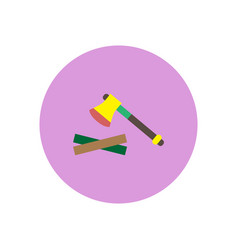 Stylish icon in circle wood and an ax vector