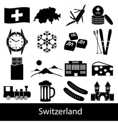 Switzerland country theme symbols icons set eps10 vector
