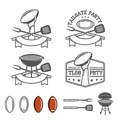 Tailgate party design elements set vector image