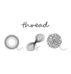 thread ball and ravel logo set icon vector image