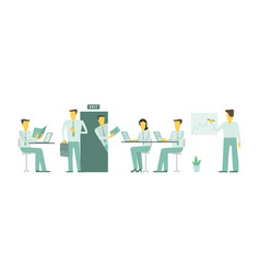 visit in office looked into room people are vector image