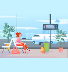 wait in airport cartoon flat vector image