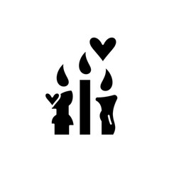 wax candles black icon sign on isolated vector image