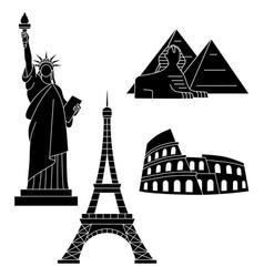 world landmarks eiffel tower statue liberty vector image