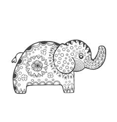 Zentangle stylized fantasy elephant vector image