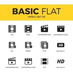 Basic set of Video icons vector image vector image