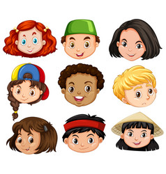 different faces of boys and girls vector image