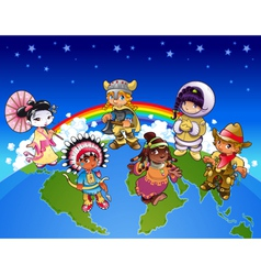 Kids from all over the world vector