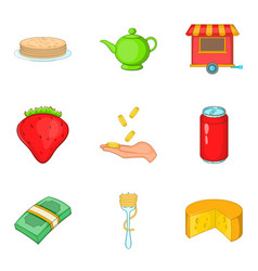 Masterpiece food icons set cartoon style vector