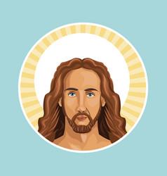 portrait jesus christ stamp vector image vector image