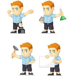 Red Head Boy Customizable Mascot 16 vector image vector image