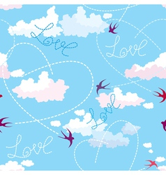 Seamless pattern with swallows hearts and clouds vector image vector image